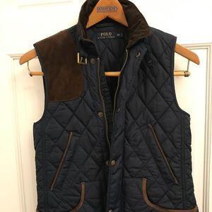 Ralph Lauren Blue Vest with Leather Trim